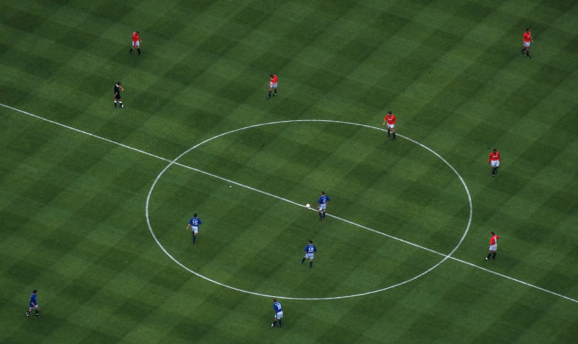 Aerial view of the kick-off