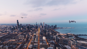 City with drones crop